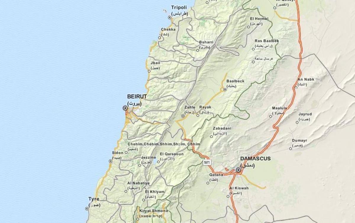 Gps Kartta Libanon Kartta Gps Kartta Libanon Lansi Aasia Aasia